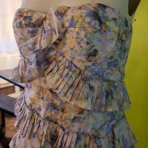 Cynthia Steffe Floral Pleated Ruffle Sam Dress
